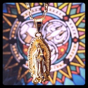 Gold Plated Guadalupe Necklace & Pendant Set
